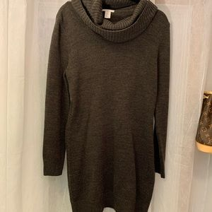 H&M Bodycon Cowl Neck Olive Sweater Dress - Size M